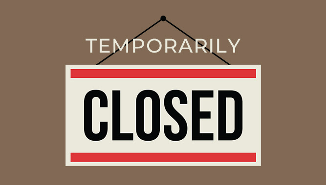 Temporarily closed sign.